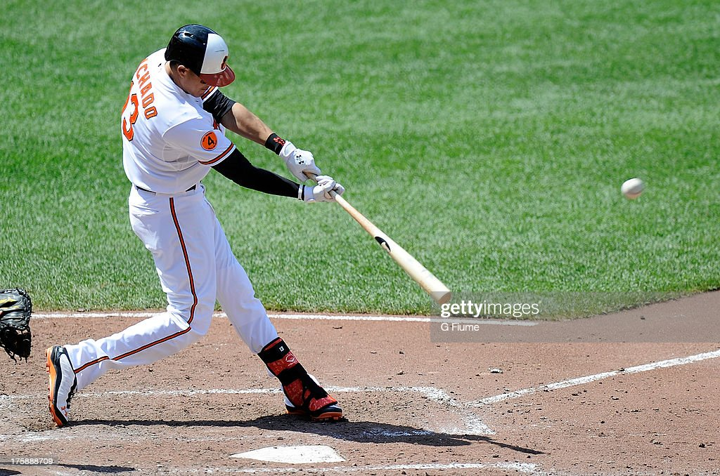 <a gi-track='captionPersonalityLinkClicked' href=/galleries/search?phrase=Manny+Machado&family=editorial&specificpeople=5591039 ng-click='$event.stopPropagation()'>Manny Machado</a> #13 of the Baltimore Orioles bats against the Seattle Mariners at Oriole Park at Camden Yards on August 4, 2013 in Baltimore, Maryland.