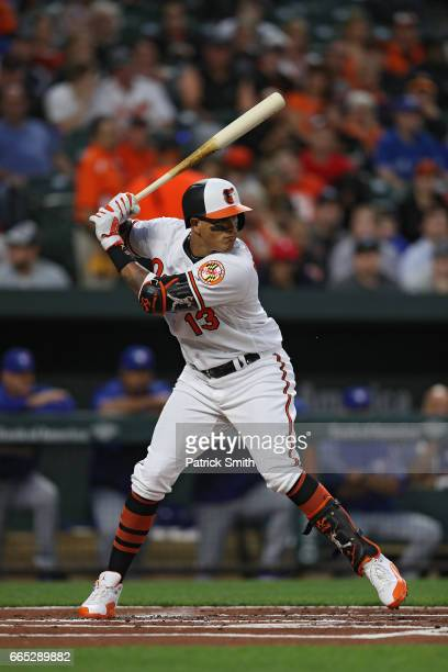 Manny Machado of the Baltimore Orioles bats against the Toronto Blue Jays at Oriole Park at Camden Yards on April 5 2017 in Baltimore Maryland