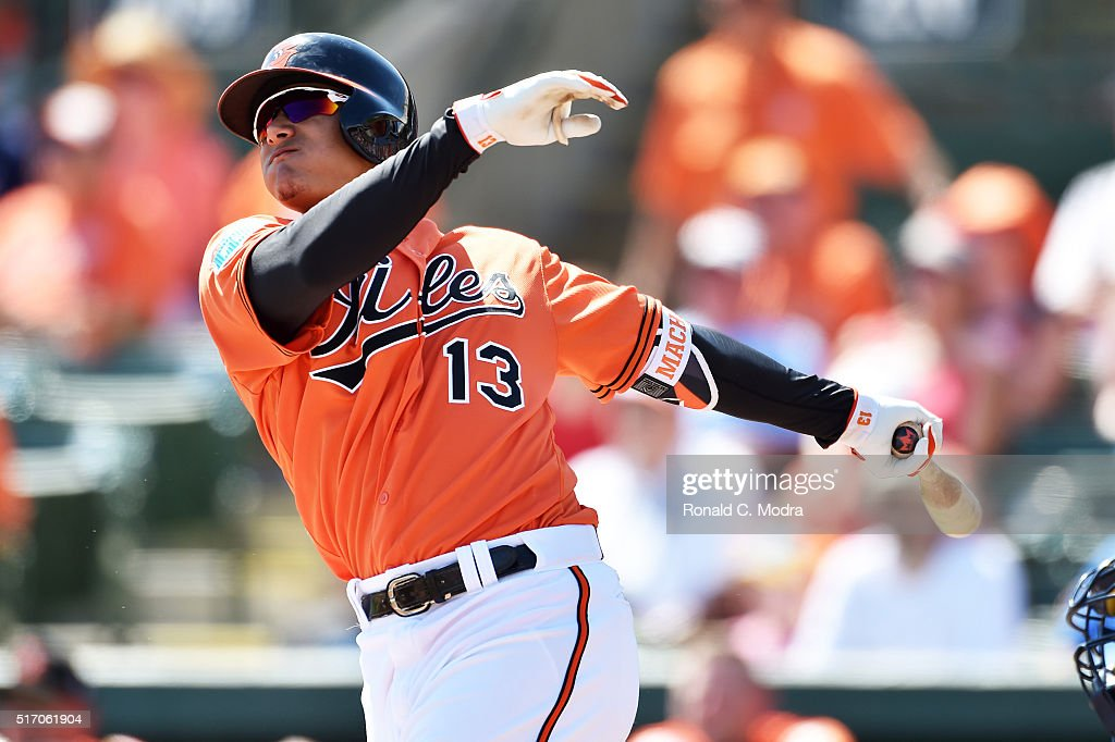 Manny Machado #13 of the Baltimore Orioles bats during a spring training game against the Minnesota Twins at Ed Smith Stadium on March 12, 2016 in Bradenton, Florida.