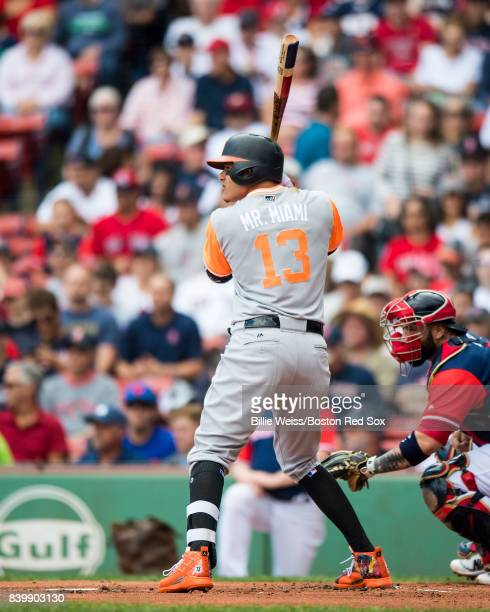 Manny Machado of the Baltimore Orioles bats during the first inning of game against the Boston Red Sox on August 27 2017 at Fenway Park in Boston...