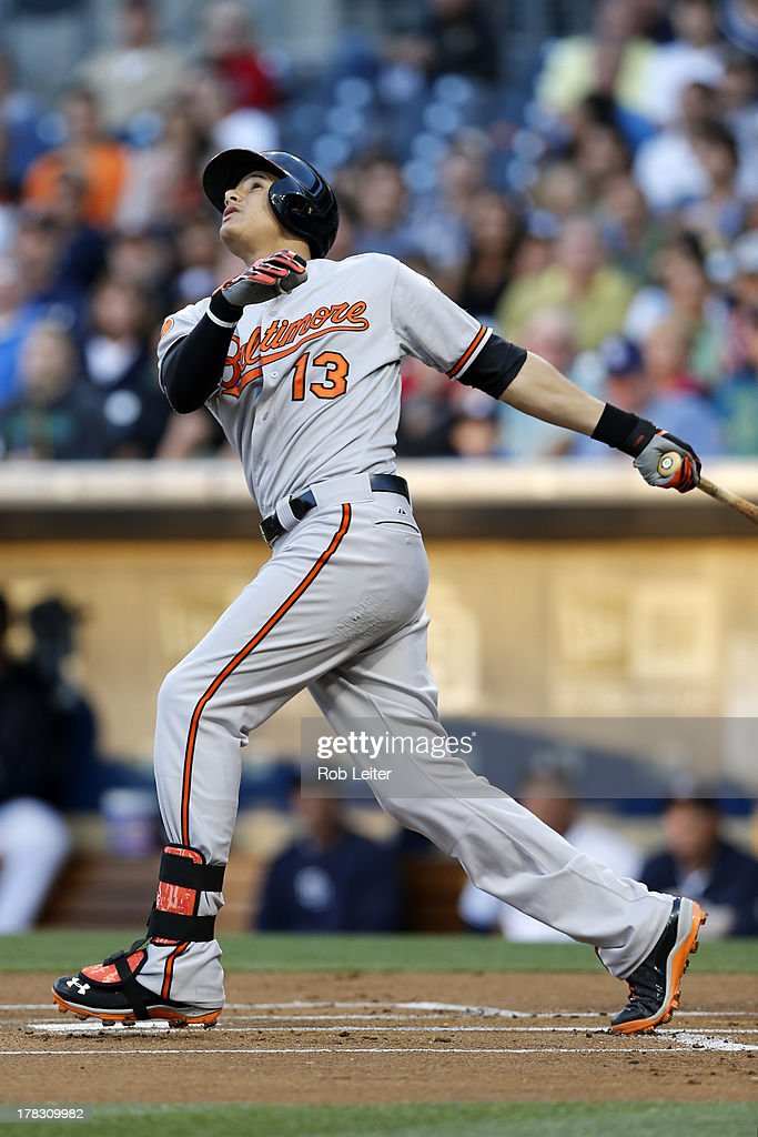 <a gi-track='captionPersonalityLinkClicked' href=/galleries/search?phrase=Manny+Machado&family=editorial&specificpeople=5591039 ng-click='$event.stopPropagation()'>Manny Machado</a> #13 of the Baltimore Orioles bats during the game against the San Diego Padres at Petco Park on August 6, 2013 in San Diego, California. The Orioles defeated the Padres 4-1.