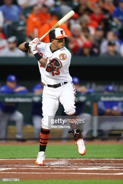 Manny Machado of the Baltimore Orioles bats in the first inning during the game against the Toronto Blue Jays at Oriole Park at Camden Yards on...