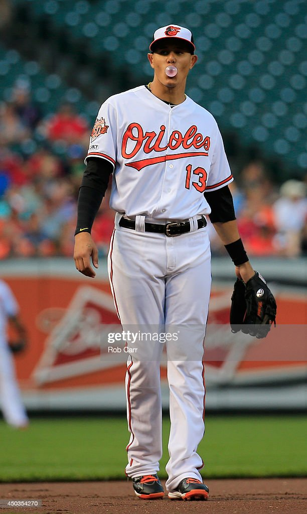 <a gi-track='captionPersonalityLinkClicked' href=/galleries/search?phrase=Manny+Machado&family=editorial&specificpeople=5591039 ng-click='$event.stopPropagation()'>Manny Machado</a> #13 of the Baltimore Orioles blows a bubble in the field during the first inning against the Boston Red Sox at Oriole Park at Camden Yards on June 9, 2014 in Baltimore, Maryland.