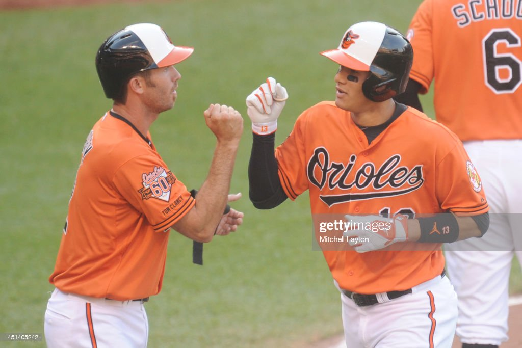 <a gi-track='captionPersonalityLinkClicked' href=/galleries/search?phrase=Manny+Machado&family=editorial&specificpeople=5591039 ng-click='$event.stopPropagation()'>Manny Machado</a> #13 of the Baltimore Orioles celebrates a two-run home run in the eighth inning with <a gi-track='captionPersonalityLinkClicked' href=/galleries/search?phrase=J.J.+Hardy&family=editorial&specificpeople=216446 ng-click='$event.stopPropagation()'>J.J. Hardy</a> #2 during a baseball game against the Tampa Bay Rays on June 28, 2014 at Oriole Park at Camden Yards in Baltimore, Maryland. The Rays won 5-4.