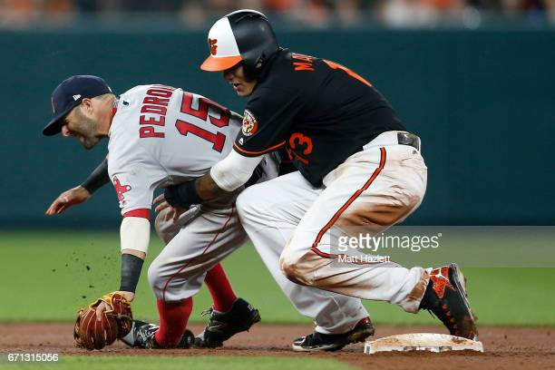Manny Machado of the Baltimore Orioles collides with Dustin Pedroia of the Boston Red Sox at second base in the eighth inning at Oriole Park at...