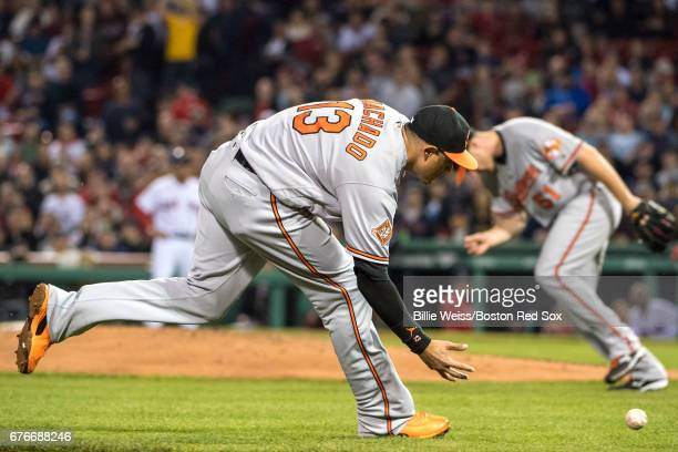 Manny Machado of the Baltimore Orioles fields a ground ball during the fifth inning of a game against the Baltimore Orioles on May 2 2017 at Fenway...