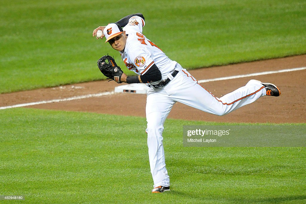 <a gi-track='captionPersonalityLinkClicked' href=/galleries/search?phrase=Manny+Machado&family=editorial&specificpeople=5591039 ng-click='$event.stopPropagation()'>Manny Machado</a> #13 of the Baltimore Orioles fields a ground ball off the bat of Howie Kendrick of the Los Angeles Angels in the ninth inning for the final out during a baseball game against the Los Angeles Angels of Anaheim on July 30, 2014 at Nationals Park in Baltimore, Maryland. The Orioles won 4-3.