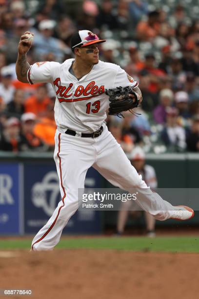 Manny Machado of the Baltimore Orioles fields against the Minnesota Twins at Oriole Park at Camden Yards on May 24 2017 in Baltimore Maryland