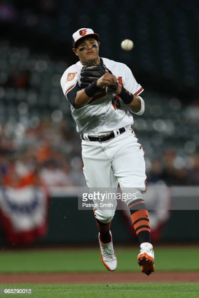 Manny Machado of the Baltimore Orioles fields against the Toronto Blue Jays at Oriole Park at Camden Yards on April 5 2017 in Baltimore Maryland