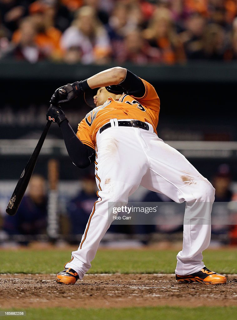 <a gi-track='captionPersonalityLinkClicked' href=/galleries/search?phrase=Manny+Machado&family=editorial&specificpeople=5591039 ng-click='$event.stopPropagation()'>Manny Machado</a> #13 of the Baltimore Orioles gets out of the way of a pitch during the fifth inning against the Minnesota Twins at Oriole Park at Camden Yards on April 6, 2013 in Baltimore, Maryland.