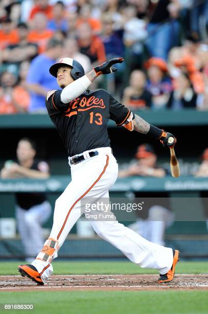 Manny Machado of the Baltimore Orioles hits a home run in the first inning against the Boston Red Sox at Oriole Park at Camden Yards on June 2 2017...