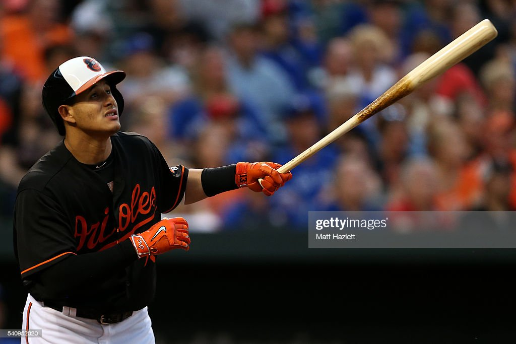 <a gi-track='captionPersonalityLinkClicked' href=/galleries/search?phrase=Manny+Machado&family=editorial&specificpeople=5591039 ng-click='$event.stopPropagation()'>Manny Machado</a> #13 of the Baltimore Orioles hits a single in the third inning against the Toronto Blue Jays at Oriole Park at Camden Yards on June 17, 2016 in Baltimore, Maryland.