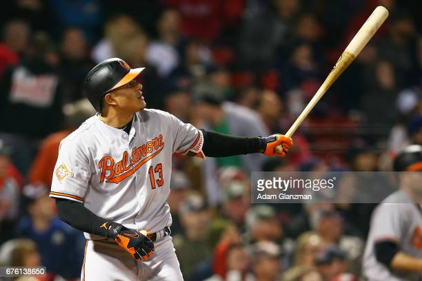 Manny Machado of the Baltimore Orioles hits a solo home run in the sixth inning of a game against the Boston Red Sox at Fenway Park on May 1 2017 in...