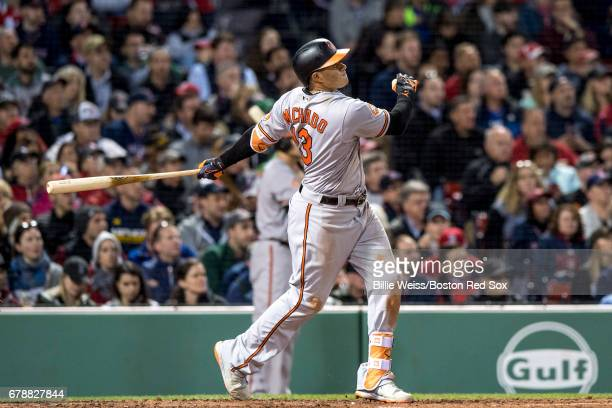 Manny Machado of the Baltimore Orioles hits a three run home run during the fourth inning of a game against the Boston Red Sox on May 4 2017 at...