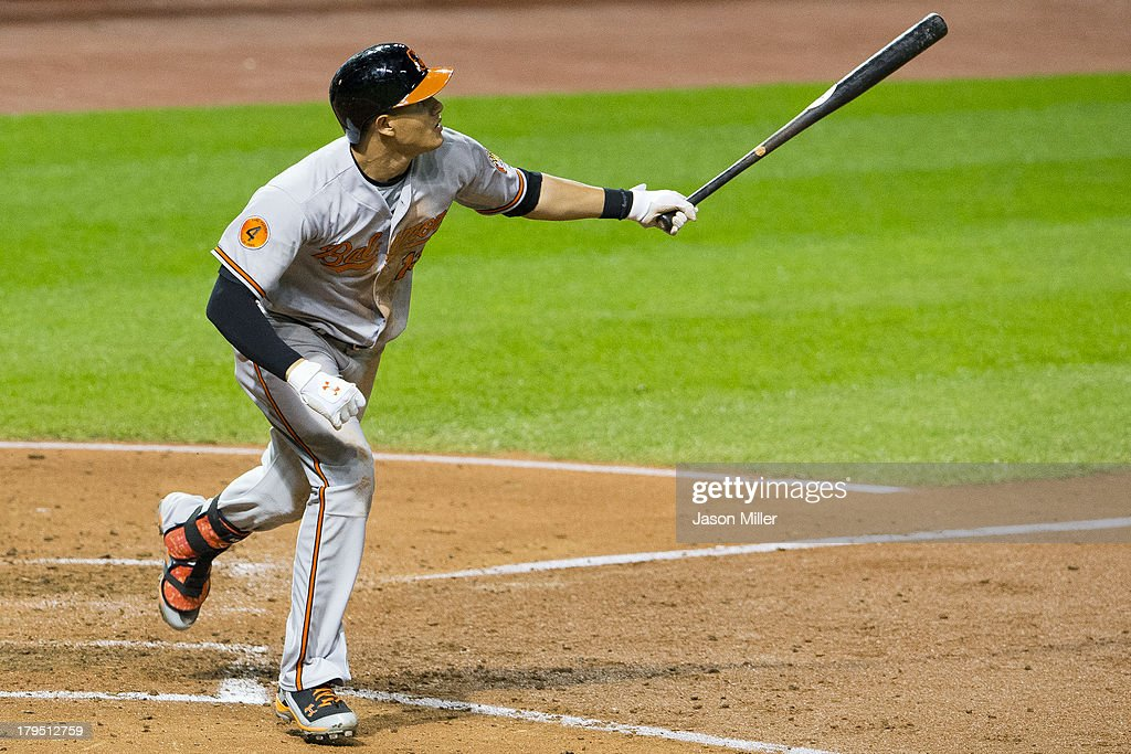 <a gi-track='captionPersonalityLinkClicked' href=/galleries/search?phrase=Manny+Machado&family=editorial&specificpeople=5591039 ng-click='$event.stopPropagation()'>Manny Machado</a> #13 of the Baltimore Orioles hits a three-run home run during the fifth inning to tie the game against the Cleveland Indians at Progressive Field on September 4, 2013 in Cleveland, Ohio.