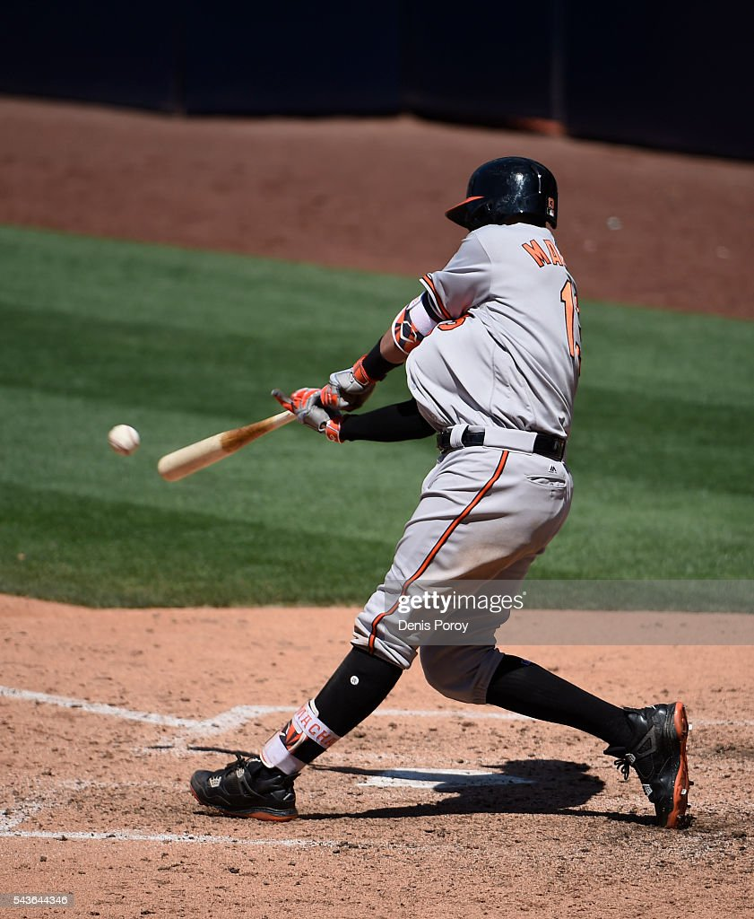 <a gi-track='captionPersonalityLinkClicked' href=/galleries/search?phrase=Manny+Machado&family=editorial&specificpeople=5591039 ng-click='$event.stopPropagation()'>Manny Machado</a> #13 of the Baltimore Orioles hits an RBI double during the ninth inning of a baseball game against the San Diego Padres at PETCO Park on June 29, 2016 in San Diego, California.