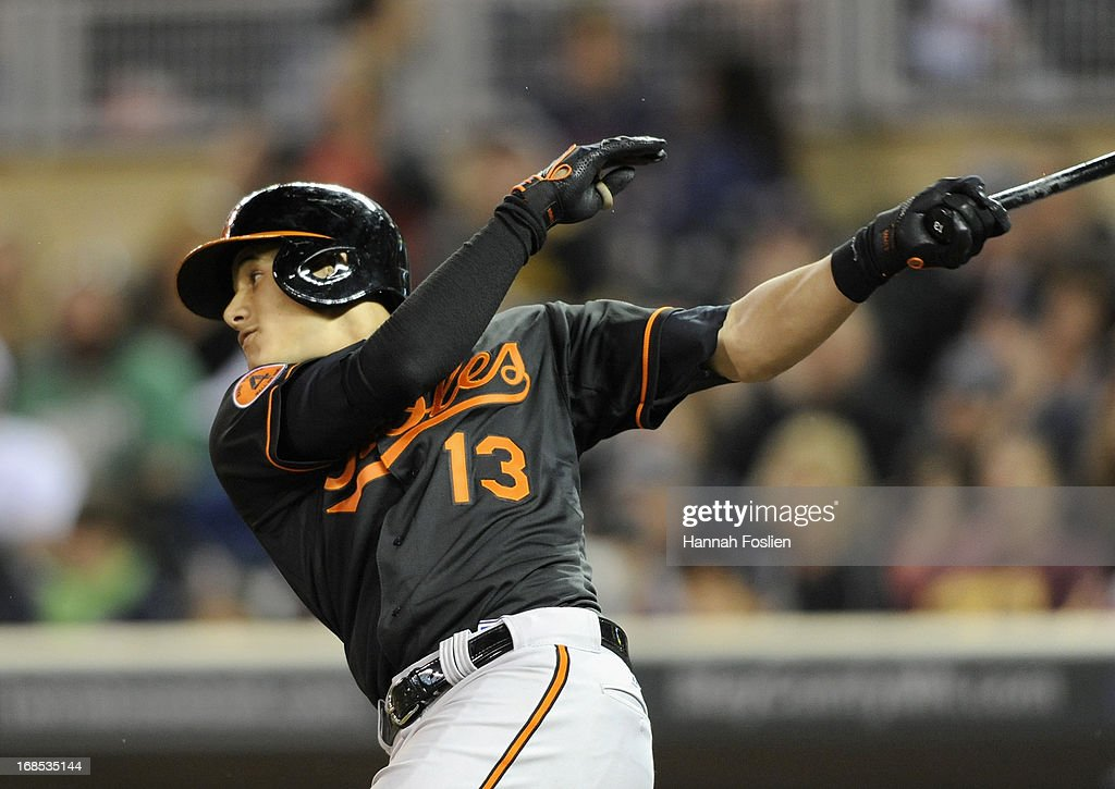 <a gi-track='captionPersonalityLinkClicked' href=/galleries/search?phrase=Manny+Machado&family=editorial&specificpeople=5591039 ng-click='$event.stopPropagation()'>Manny Machado</a> #13 of the Baltimore Orioles hits an RBI single against the Minnesota Twins during the tenth inning of the game on May 10, 2013 at Target Field in Minneapolis, Minnesota. The Orioles defeated the Twins 9-6 in ten innings.