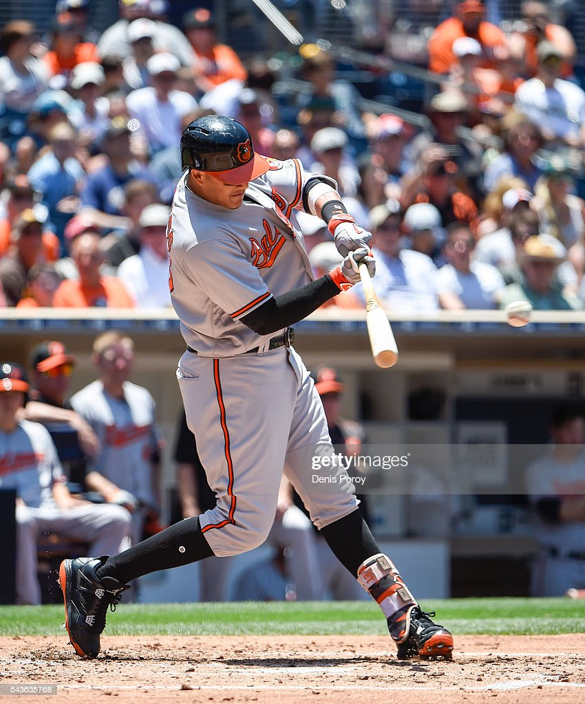 <a gi-track='captionPersonalityLinkClicked' href=/galleries/search?phrase=Manny+Machado&family=editorial&specificpeople=5591039 ng-click='$event.stopPropagation()'>Manny Machado</a> #13 of the Baltimore Orioles hits an RBI single during the fourth inning of a baseball game against the San Diego Padres at PETCO Park on June 29, 2016 in San Diego, California.