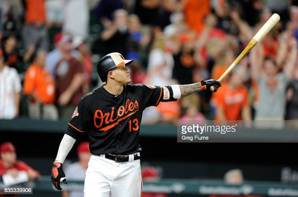 Manny Machado of the Baltimore Orioles hits the game winning grand slam in the ninth inning against the Los Angeles Angels at Oriole Park at Camden...