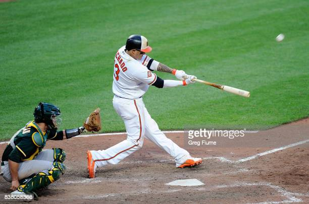 Manny Machado of the Baltimore Orioles hits the gamewinning home run in the 12th inning against the Oakland Athletics at Oriole Park at Camden Yards...