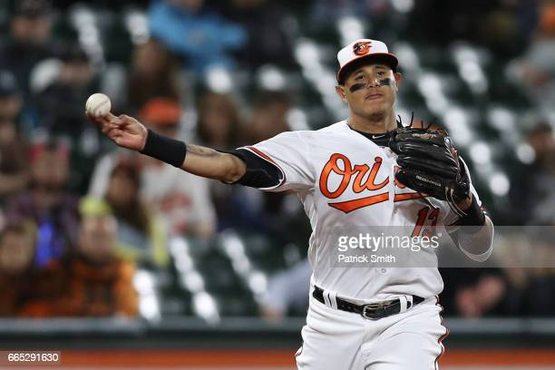 Manny Machado of the Baltimore Orioles in action against the Toronto Blue Jays at Oriole Park at Camden Yards on April 5 2017 in Baltimore Maryland