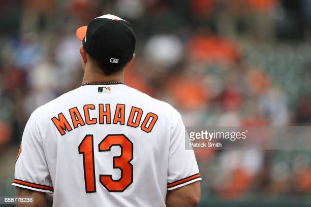 Manny Machado of the Baltimore Orioles in action against the Minnesota Twins at Oriole Park at Camden Yards on May 24 2017 in Baltimore Maryland