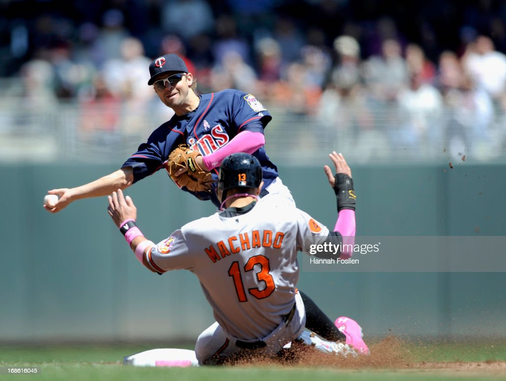 <a gi-track='captionPersonalityLinkClicked' href=/galleries/search?phrase=Manny+Machado&family=editorial&specificpeople=5591039 ng-click='$event.stopPropagation()'>Manny Machado</a> #13 of the Baltimore Orioles is out at second base as <a gi-track='captionPersonalityLinkClicked' href=/galleries/search?phrase=Brian+Dozier&family=editorial&specificpeople=7553002 ng-click='$event.stopPropagation()'>Brian Dozier</a> #2 of the Minnesota Twins turns a double play during the first inning of the game on May 12, 2013 at Target Field in Minneapolis, Minnesota.