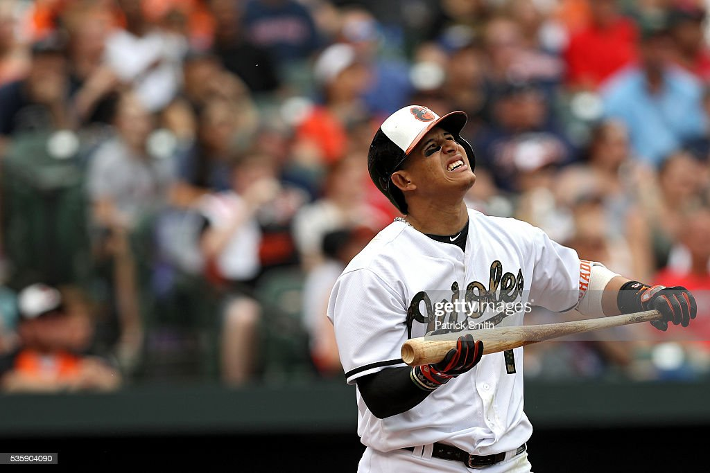 <a gi-track='captionPersonalityLinkClicked' href=/galleries/search?phrase=Manny+Machado&family=editorial&specificpeople=5591039 ng-click='$event.stopPropagation()'>Manny Machado</a> #13 of the Baltimore Orioles looks on as he flies out during the fifth inning against the Boston Red Sox at Oriole Park at Camden Yards on May 30, 2016 in Baltimore, Maryland.