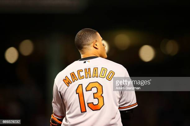 Manny Machado of the Baltimore Orioles looks on during a game against the Boston Red Sox at Fenway Park on April 12 2017 in Boston Massachusetts