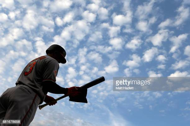Manny Machado of the Baltimore Orioles prepares to bat against the Washington Nationals in the first inning at Nationals Park on May 10 2017 in...