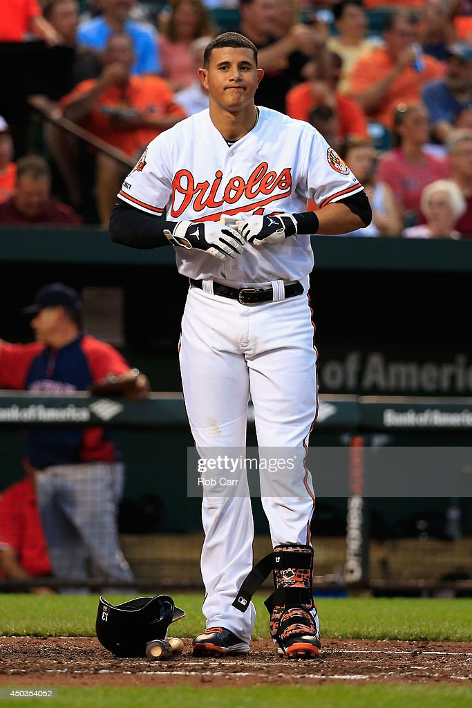 <a gi-track='captionPersonalityLinkClicked' href=/galleries/search?phrase=Manny+Machado&family=editorial&specificpeople=5591039 ng-click='$event.stopPropagation()'>Manny Machado</a> #13 of the Baltimore Orioles reacts after striking out for the third out of the third inning against the Boston Red Sox at Oriole Park at Camden Yards on June 9, 2014 in Baltimore, Maryland.