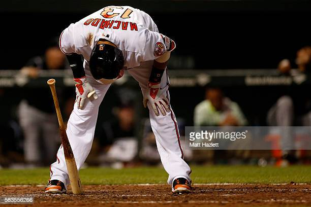 Manny Machado of the Baltimore Orioles reacts after striking out for the third out of the fifth inning against the Colorado Rockies at Oriole Park at...