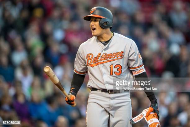 Manny Machado of the Baltimore Orioles reacts after striking out during the first inning of a game against the Boston Red Sox on May 3 2017 at Fenway...