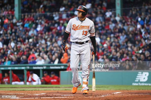 Manny Machado of the Baltimore Orioles reacts after striking out during the first inning against the Boston Red Sox at Fenway Park on May 3 2017 in...