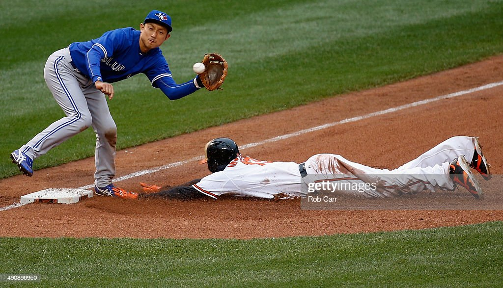 <a gi-track='captionPersonalityLinkClicked' href=/galleries/search?phrase=Manny+Machado&family=editorial&specificpeople=5591039 ng-click='$event.stopPropagation()'>Manny Machado</a> #13 of the Baltimore Orioles steals third base as <a gi-track='captionPersonalityLinkClicked' href=/galleries/search?phrase=Munenori+Kawasaki&family=editorial&specificpeople=690355 ng-click='$event.stopPropagation()'>Munenori Kawasaki</a> #66 of the Toronto Blue Jays waits for the throw during the fourth inning of the Orioles 6-4 win at Oriole Park at Camden Yards on October 1, 2015 in Baltimore, Maryland.