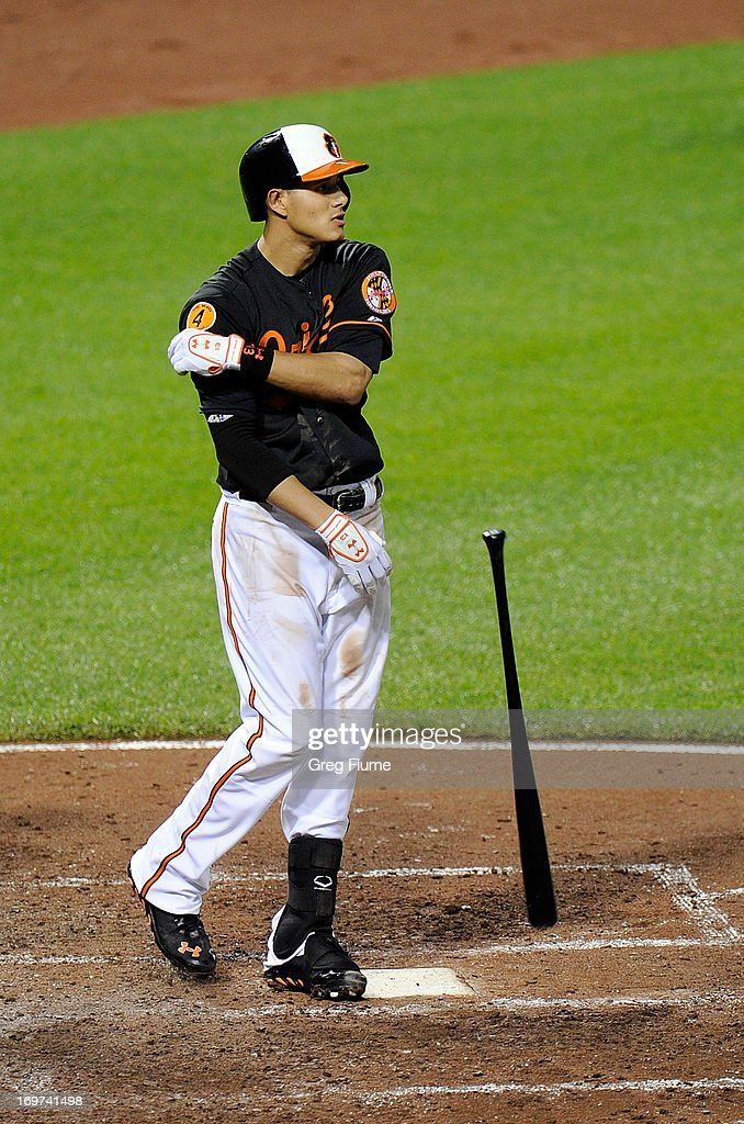 <a gi-track='captionPersonalityLinkClicked' href=/galleries/search?phrase=Manny+Machado&family=editorial&specificpeople=5591039 ng-click='$event.stopPropagation()'>Manny Machado</a> #13 of the Baltimore Orioles throws his bat after striking out to end the fifth inning against the Detroit Tigers at Oriole Park at Camden Yards on May 31, 2013 in Baltimore, Maryland.