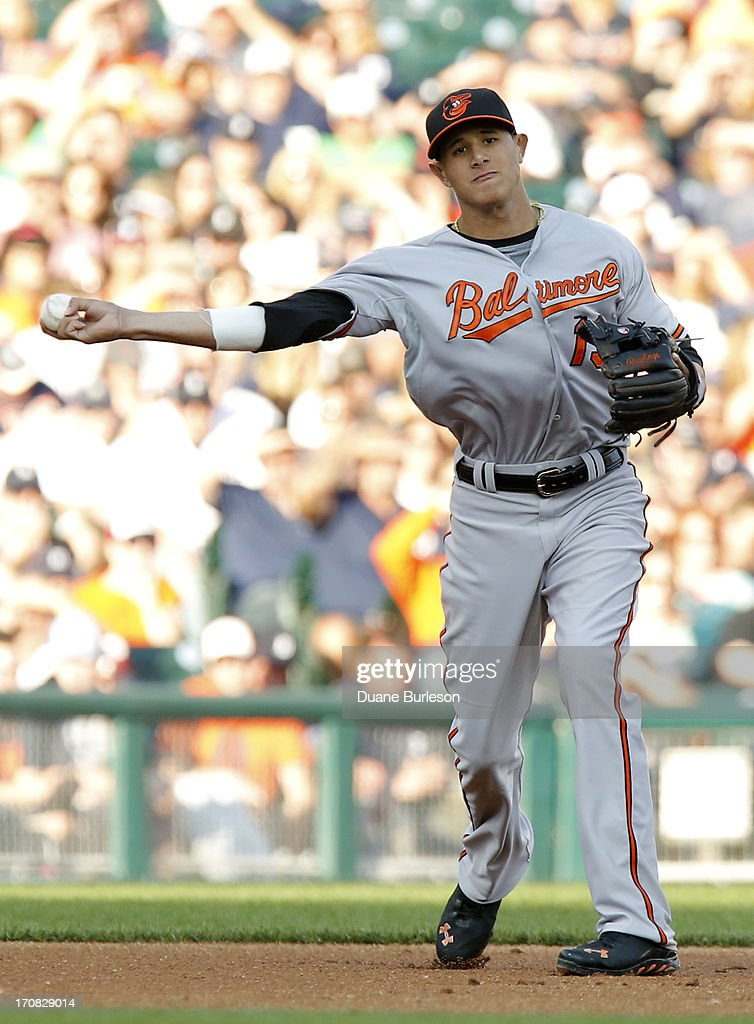 <a gi-track='captionPersonalityLinkClicked' href=/galleries/search?phrase=Manny+Machado&family=editorial&specificpeople=5591039 ng-click='$event.stopPropagation()'>Manny Machado</a> #13 of the Baltimore Orioles throws out Victor Martinez of the Detroit Tigers at first base in the second inning at Comerica Park on June 18, 2013 in Detroit, Michigan.