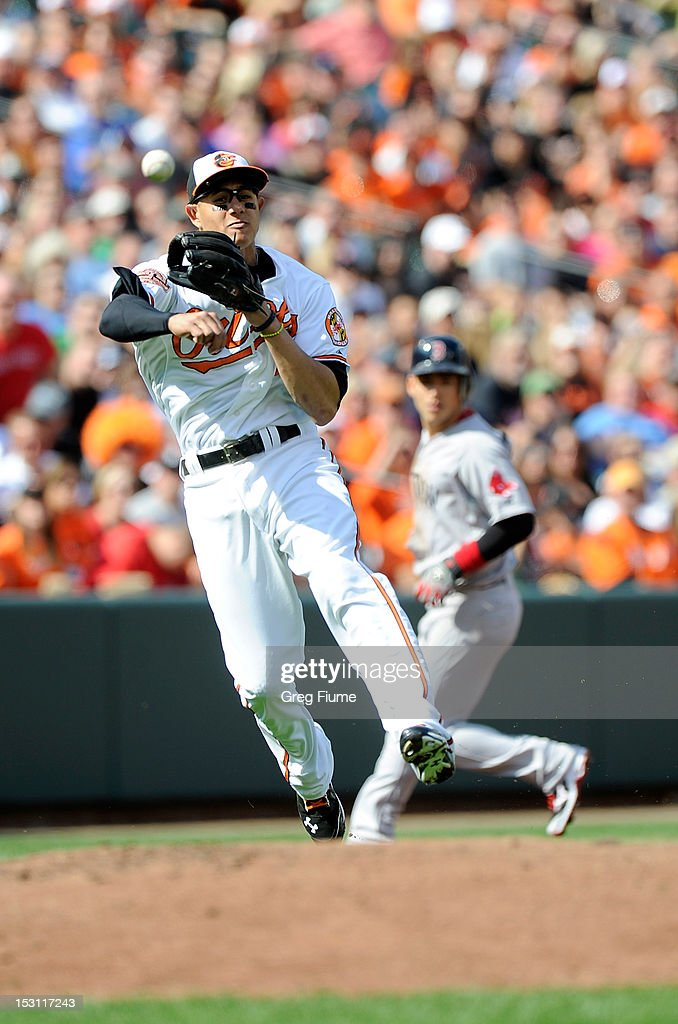 <a gi-track='captionPersonalityLinkClicked' href=/galleries/search?phrase=Manny+Machado&family=editorial&specificpeople=5591039 ng-click='$event.stopPropagation()'>Manny Machado</a> #13 of the Baltimore Orioles throws the ball to first base against the Boston Red Sox at Oriole Park at Camden Yards on September 30, 2012 in Baltimore, Maryland.