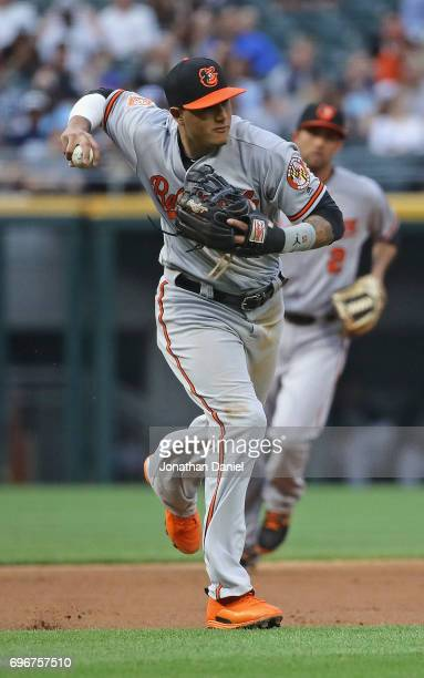 Manny Machado of the Baltimore Orioles throws to first base against the Chicago White Sox at Guaranteed Rate Field on June 13 2017 in Chicago...