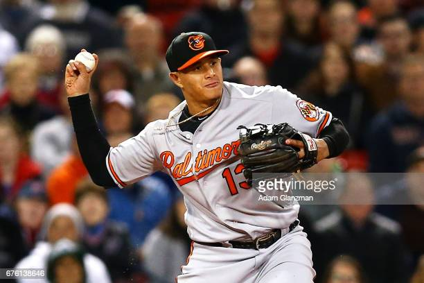 Manny Machado of the Baltimore Orioles throws to second base in the fifth inning of a game against the Boston Red Sox at Fenway Park on May 1 2017 in...