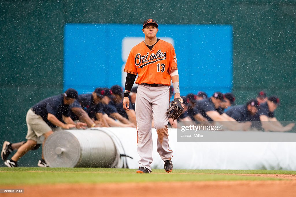 <a gi-track='captionPersonalityLinkClicked' href=/galleries/search?phrase=Manny+Machado&family=editorial&specificpeople=5591039 ng-click='$event.stopPropagation()'>Manny Machado</a> #13 of the Baltimore Orioles walks off the field as the Cleveland Indians grounds crew rolls out the tarp during a rain delay in the eighth inning at Progressive Field on May 28, 2016 in Cleveland, Ohio.