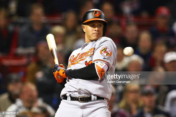 Manny Machado of the Baltmore Orioles dodges a high pitch in the fourth inning of a game against the Boston Red Sox at Fenway Park on May 1 2017 in...