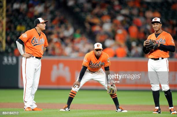 Manny Machado Tim Beckham and Jonathan Schoop of the Baltimore Orioles talk during a break in the game against the Detroit Tigers at Oriole Park at...