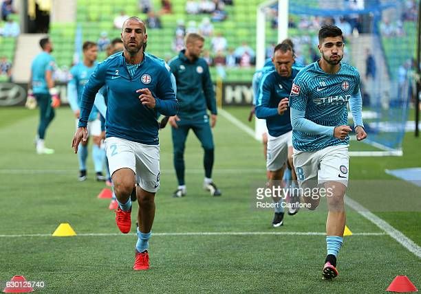 Manny Muscat and Paulo Retre of the Melbourne City warm up the round 11 ALeague match between Melbourne City FC and Melbourne Victory at AAMI Park on...