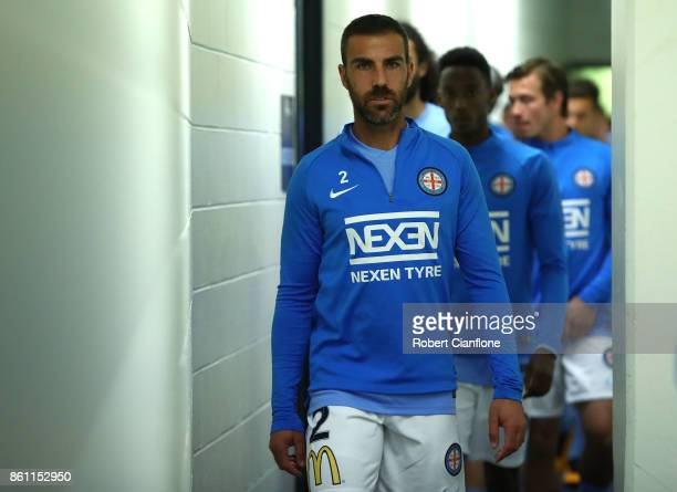 Manny Muscat of Melbourne City walks out for the warm up session for the round two ALeague match between Melbourne Victory and Melbourne City FC at...