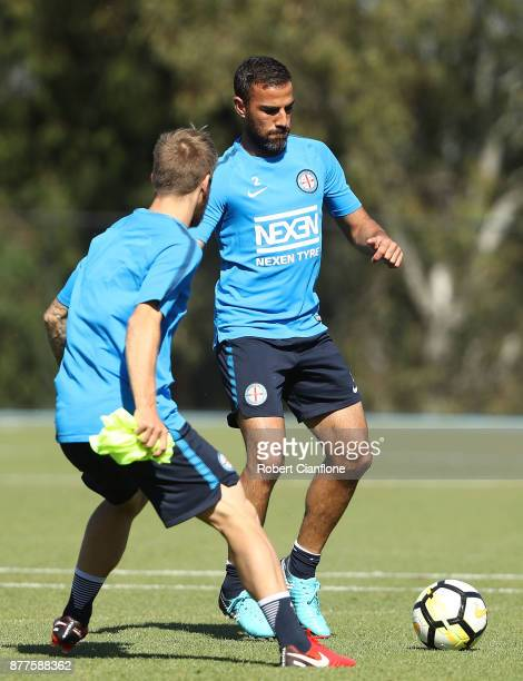 Manny Muscat of the City controls the ball during a Melbourne City ALeague training session at City Football Academy on November 23 2017 in Melbourne...