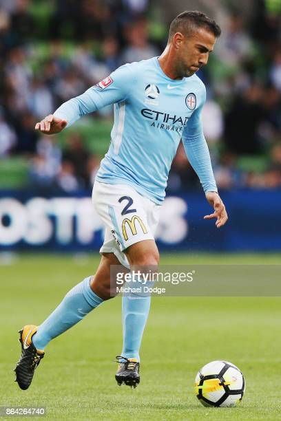 Manny Muscat of the City runs with the ball during the round three ALeague match between Melbourne City and the Wellington Phoenix at AAMI Park on...