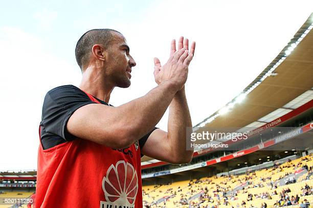 Manny Muscat of the Phoenix acknowledges the crowd ahead of his final game for the franchise during the round 27 ALeague match between the Wellington...