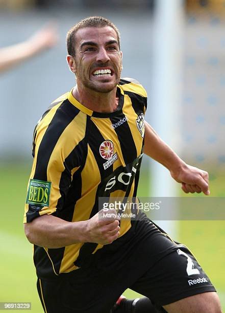 Manny Muscat of the Phoenix celebrates a goal during the Aleague Semi Final match between the Wellington Phoenix and Perth Glory at Westpac Stadium...