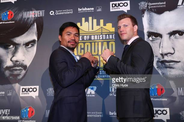 Manny Pacquiao and Jeff Horn face off during a press conference at Suncorp Stadium on July 2nd on April 26 2017 in Brisbane Australia